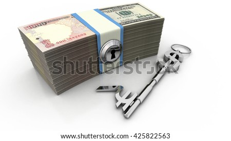 Dollar and Rupee sign key along with U.S. and Indian bills. High quality sharp 3d rendering - stock photo