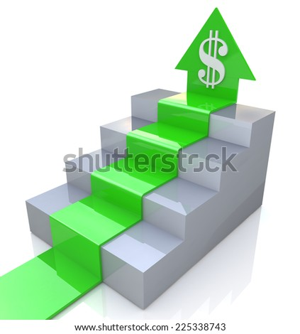 Dollar Arrow upstairs  - stock photo