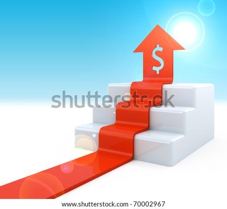 Dollar Arrow upstairs - stock photo