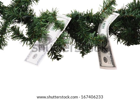 dollar banknote hanging on christmas tree branch on white background - stock photo