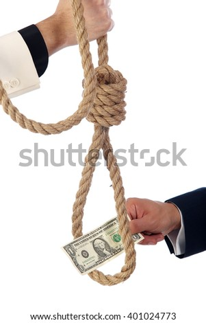 Dollar banknote in gallows noose isolated on white background - stock photo