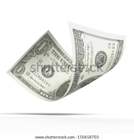 Dollar banknote  with different values - stock photo