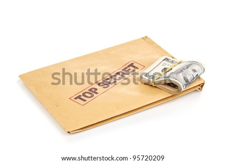 Dollar banknotes and top secret envelope isolated on white - stock photo