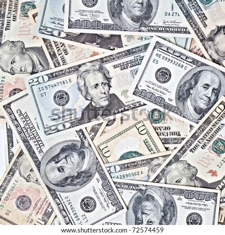 dollar banknotes background - stock photo