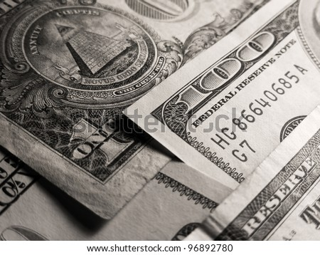 Dollar banknotes in black and white style. - stock photo