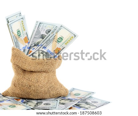 Dollar banknotes in sack  isolated on white - stock photo