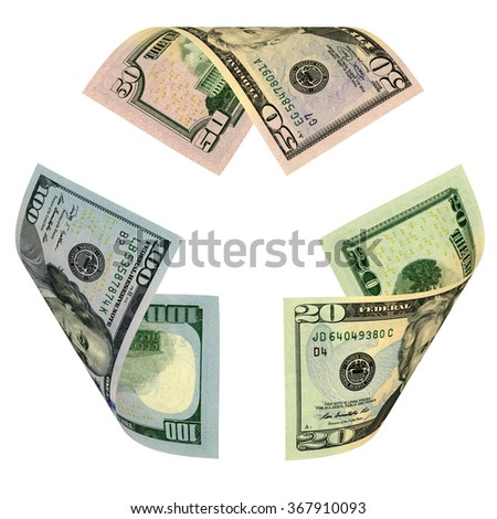 Dollar Bill Recycle Sign. Made of one hundred, fifty and twenty dollar banknotes. Isolated on white. - stock photo