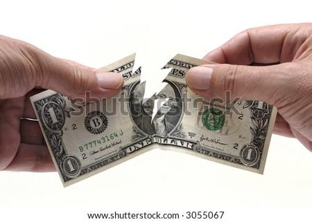Dollar bill, torn - stock photo