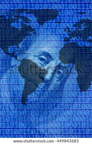 dollar bill world map and binary codes. Elements of this image furnished by NASA - stock photo