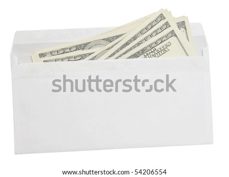 dollar bills in an envelope isolated on white background - stock photo