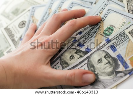dollar bills on hand, Hand with money, 100 dollar bills - stock photo