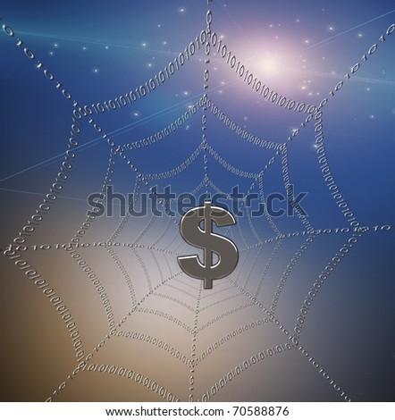 Dollar caught in binary web - stock photo