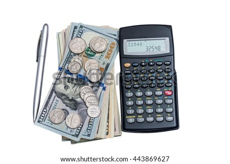 dollar, coin calculator and pen isolated - stock photo