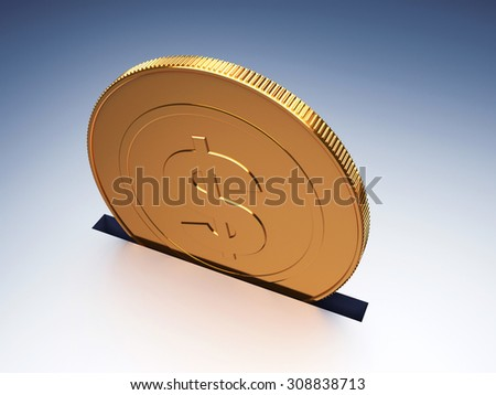 Dollar coin. Concept of savings. 3d render illustration - stock photo