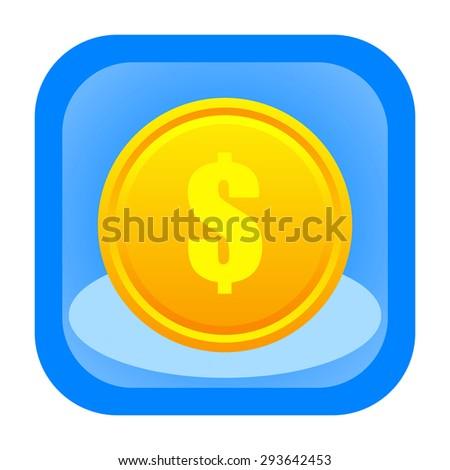 Dollar coin icon - stock photo