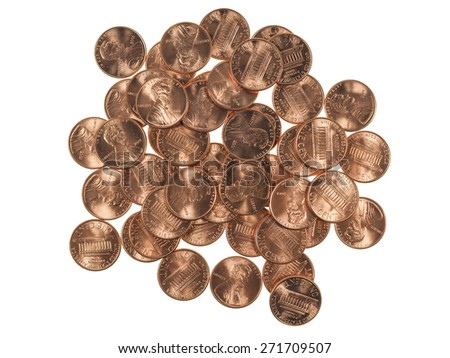 Dollar coins 1 cent wheat penny cent currency of the United States isolated over white background - stock photo
