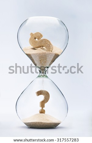 Dollar crisis. Question mark made out of falling sand from dollar sign flowing through hourglass - stock photo