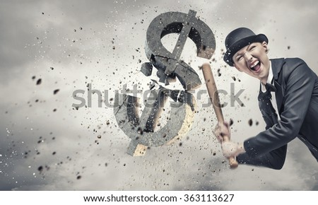Dollar currency fall - stock photo