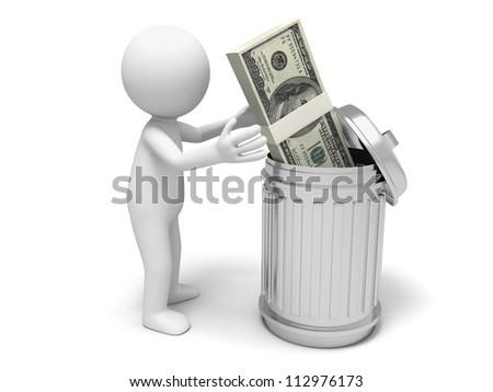 Dollar/dustbin/a man throw a bundle of dollars to a dustbin - stock photo