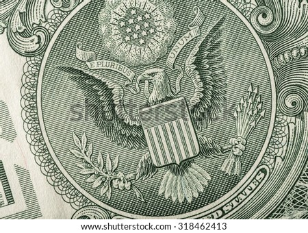 Dollar eagle banknote close up. - stock photo
