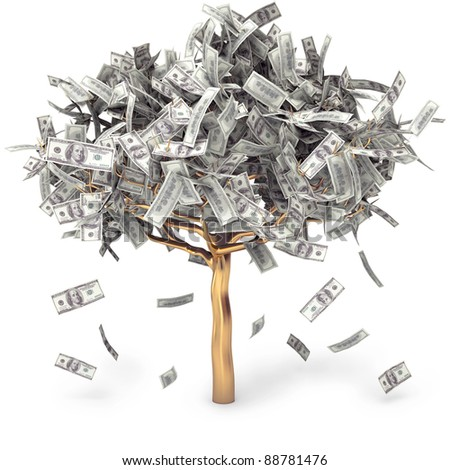Dollar grows on a tree, money Tree, on a white background, 3d render - stock photo