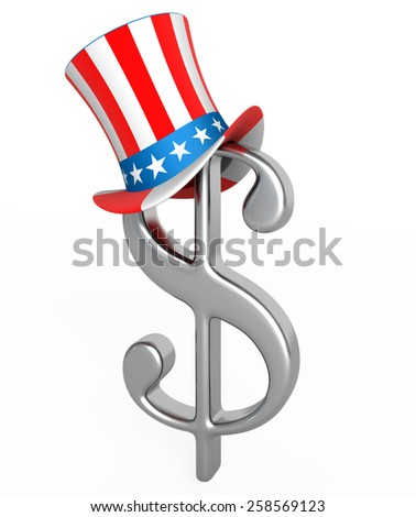 Dollar hat Uncle Sam - stock photo