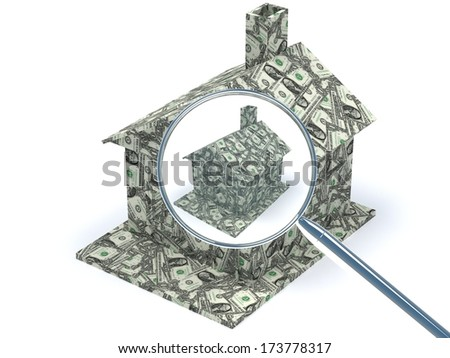 dollar house under magnifying glass  - stock photo