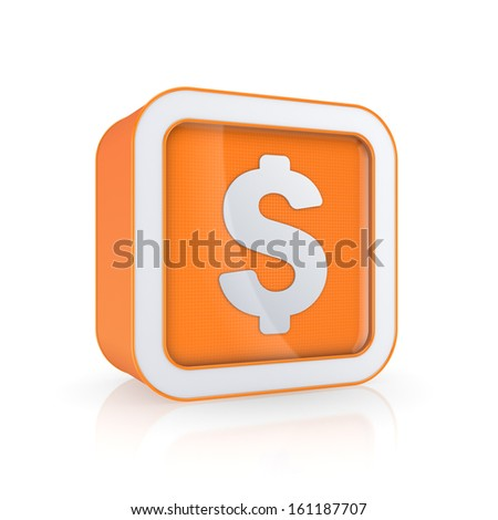 Dollar icon.Isolated on white.3d rendered. - stock photo