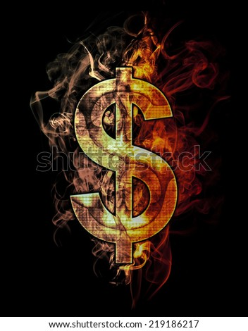 dollar, illustration of  number with chrome effects and red fire on black background - stock photo