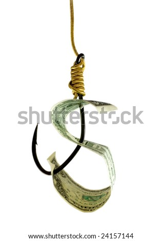 dollar in hook close-up isolated on white background - stock photo