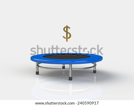 Dollar Jumping on a trampoline on a white background - stock photo