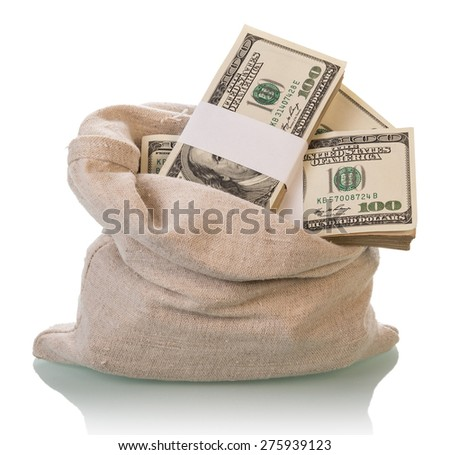 Dollar Money bills in bag isolated on white background - stock photo