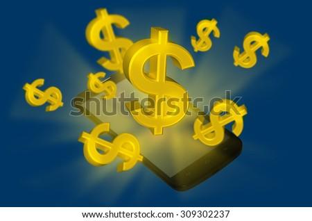 Dollar money with smart phone  - stock photo