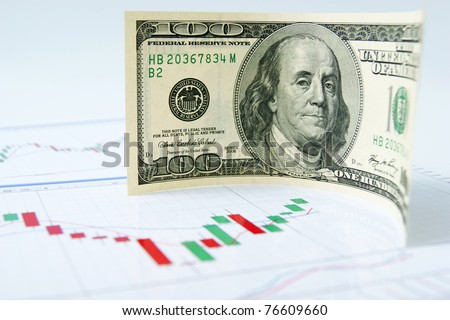 Dollar note on the exchange chart background - stock photo