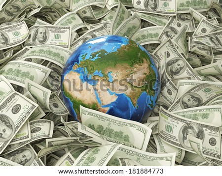 Dollar notes and a globe. Elements of this image furnished by NASA. 3 - stock photo