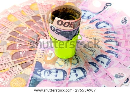 Dollar notes in New Zealand currency $100 $50 - stock photo
