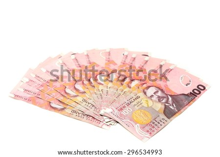 Dollar notes in New Zealand currency $100  - stock photo