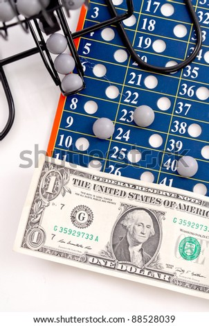 Dollar on Lottery Ball Sheet - stock photo