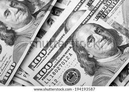 Dollar Photography: US One Hundred Dollar Bill Macro - stock photo