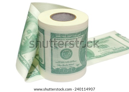 Dollar printed roll of toilet paper isolated on white. - stock photo