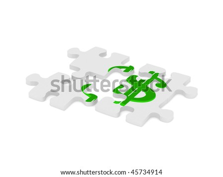 Dollar puzzle. Puzzle with the dollar sign isolated on white background. High quality 3d render. - stock photo