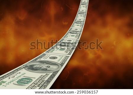 Dollar road against orange background - stock photo