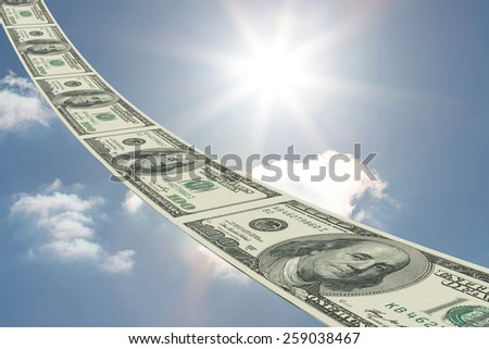 Dollar road against sky - stock photo