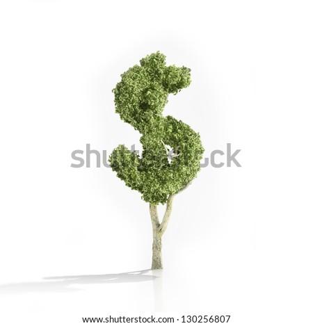 Dollar shaped tree - making money concept. - stock photo