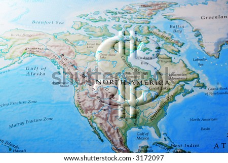 Dollar sign across North America ( United States and Canada) depicting economy, business, or commerce - stock photo