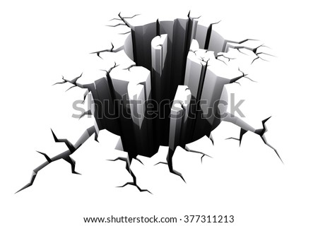 Dollar sign cracked floor, dollar crisis, financial crisis concept. - stock photo