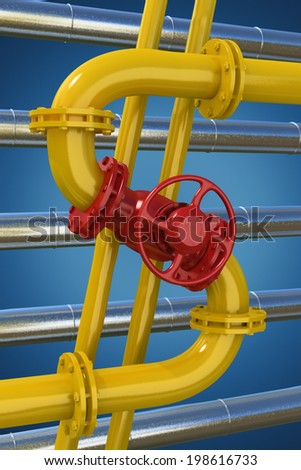 Dollar sign from gas pipeline on blue background - stock photo