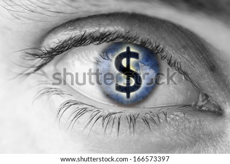 Dollar sign in human pupil. Greed concept. - stock photo