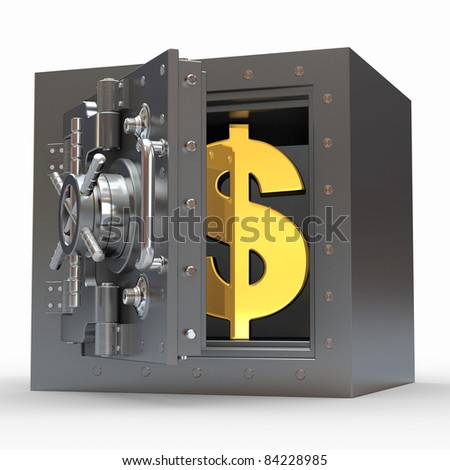 Dollar sign in vault on white isolated background. 3d - stock photo