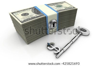 Dollar sign key along with U.S. bills. High quality sharp 3d rendering - stock photo